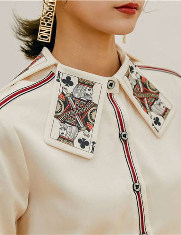 Female New Spring Special King Card Print Collar Shirts
