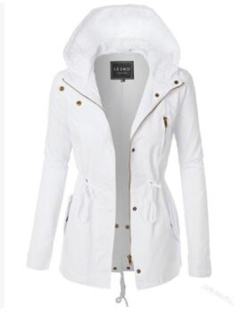 DRAWSTRING SLIM HOODED SPLIT TRENCH COAT