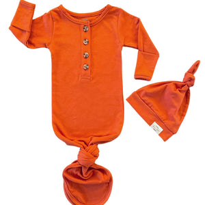Baby Organic Knotted Gown + Top Knot Hat - Rust