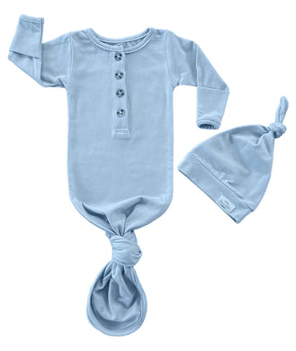 Baby Organic Knotted Gown + Top Knot Hat - River (light blue)