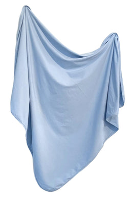 Organic Cotton Swaddle - River (light blue)