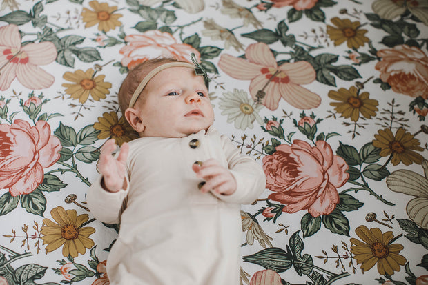 Baby Organic Knotted Gown + Top Knot Hat - Oat (natural/taupe) 1