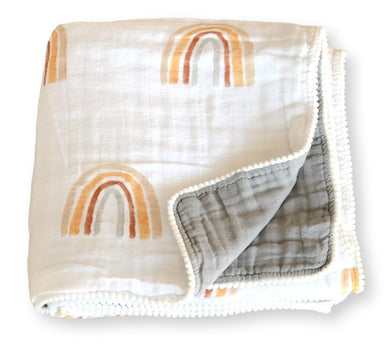 Organic Cotton Muslin Quilt - Rainbow