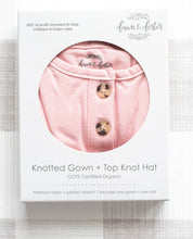 Load image into Gallery viewer, Organic Knotted Gown + Top Knot Hat - Blush (pink)