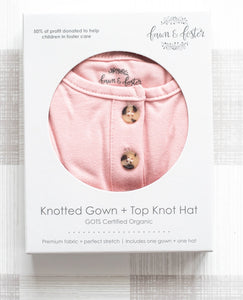 Organic Knotted Gown + Top Knot Hat - Blush (pink)