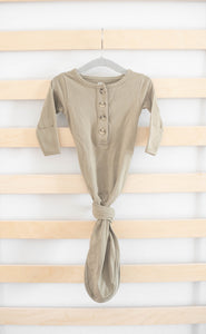 Organic Knotted Gown + Top Knot Hat - Sage