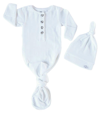Baby Organic Knotted Gown + Top Knot Hat - Sugar (white)