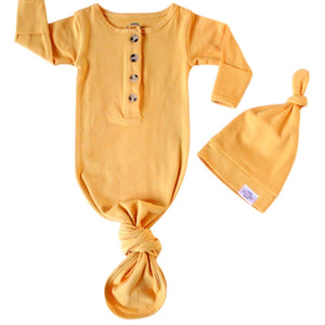 Baby Organic Knotted Gown + Top Knot Hat - Mustard