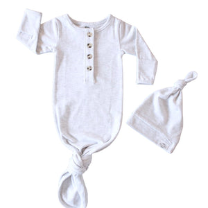 Baby Organic Knotted Gown + Top Knot Hat - Ash (light grey)