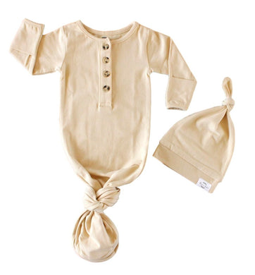 Baby Organic Knotted Gown + Top Knot Hat - Oat (natural/taupe)