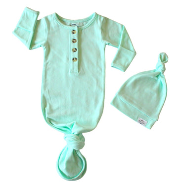 Baby Organic Knotted Gown + Top Knot Hat - Mint
