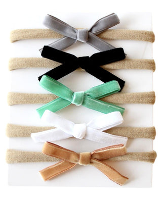 Baby Nylon Headbands with Velvet Bows 5 pk. - Mint/Black