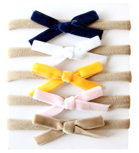 Load image into Gallery viewer, Baby Nylon Headbands with Velvet Bows - Mustard/Navy