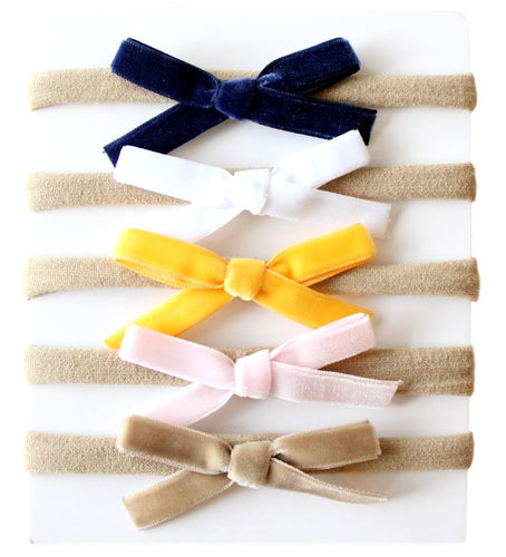 Baby Nylon Headbands with Velvet Bows - Mustard/Navy