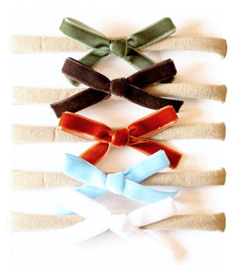 Baby Nylon Headbands with Velvet Bows 5 pk. - Forest/Rust