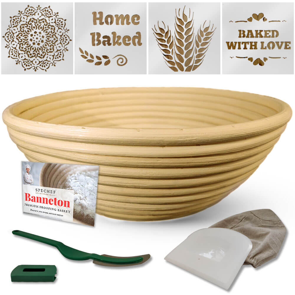 9 Inch Banneton Proofing Basket Set With Bread Stencils