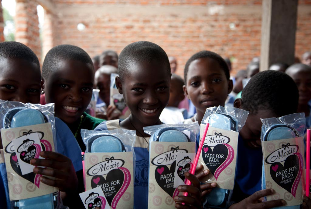 Ugandan girls with Pads for Pads Moxie donations