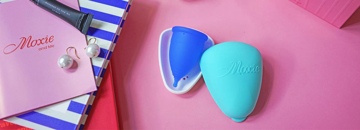 Moxie reusable menstrual cup with carry pod
