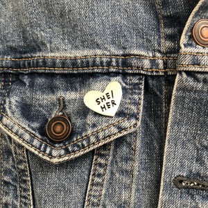 MoxieProducts Gifts ADAMJK She/Her pronoun pin