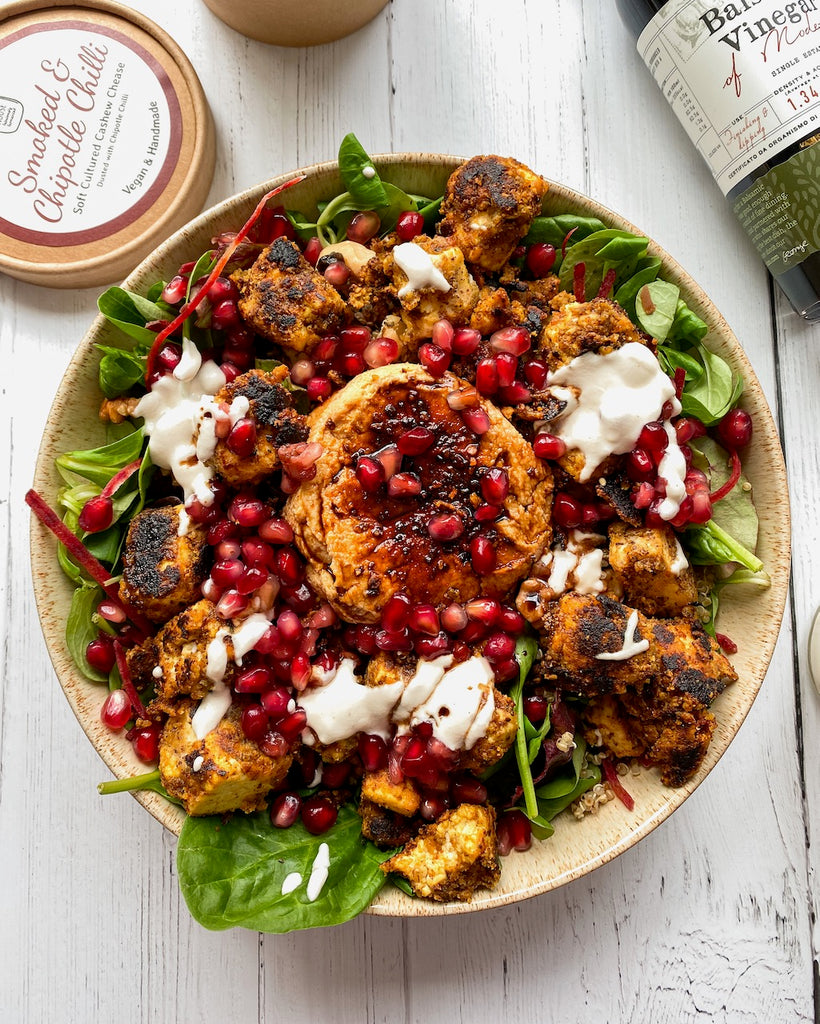 Crispy Tahini Tofu Salad with Soured Cream - Features @bathculturehouse Soft Cheese