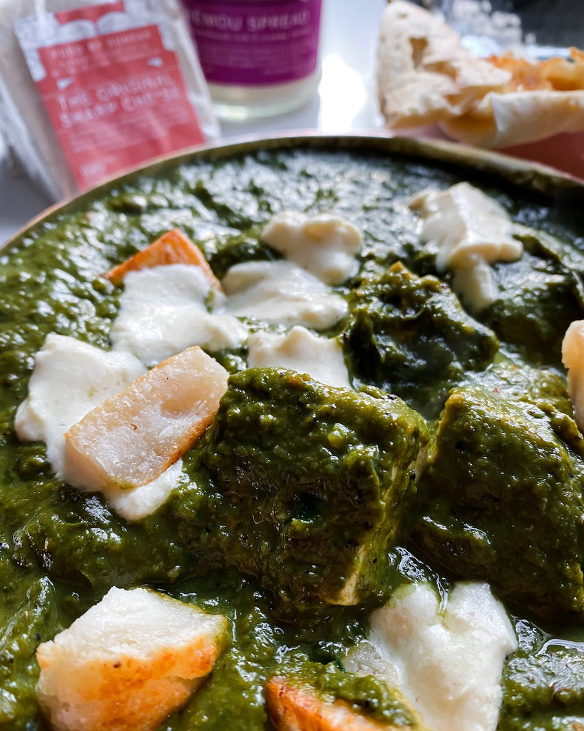 Authentic-ish Saag - Sumear's take using Crèmou and Original Sharp Cheese