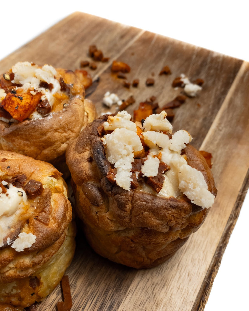 Yorkie's Filled with Caramelised Apple, Facon, Soured Cream and Smoked Cheese