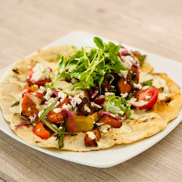 Summer Flatbread with Trímma Cheese by @positive.pantry