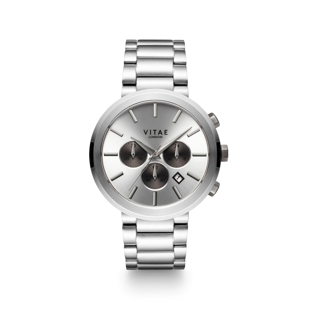 Elmington Chrono Watch x Silver - 44mm