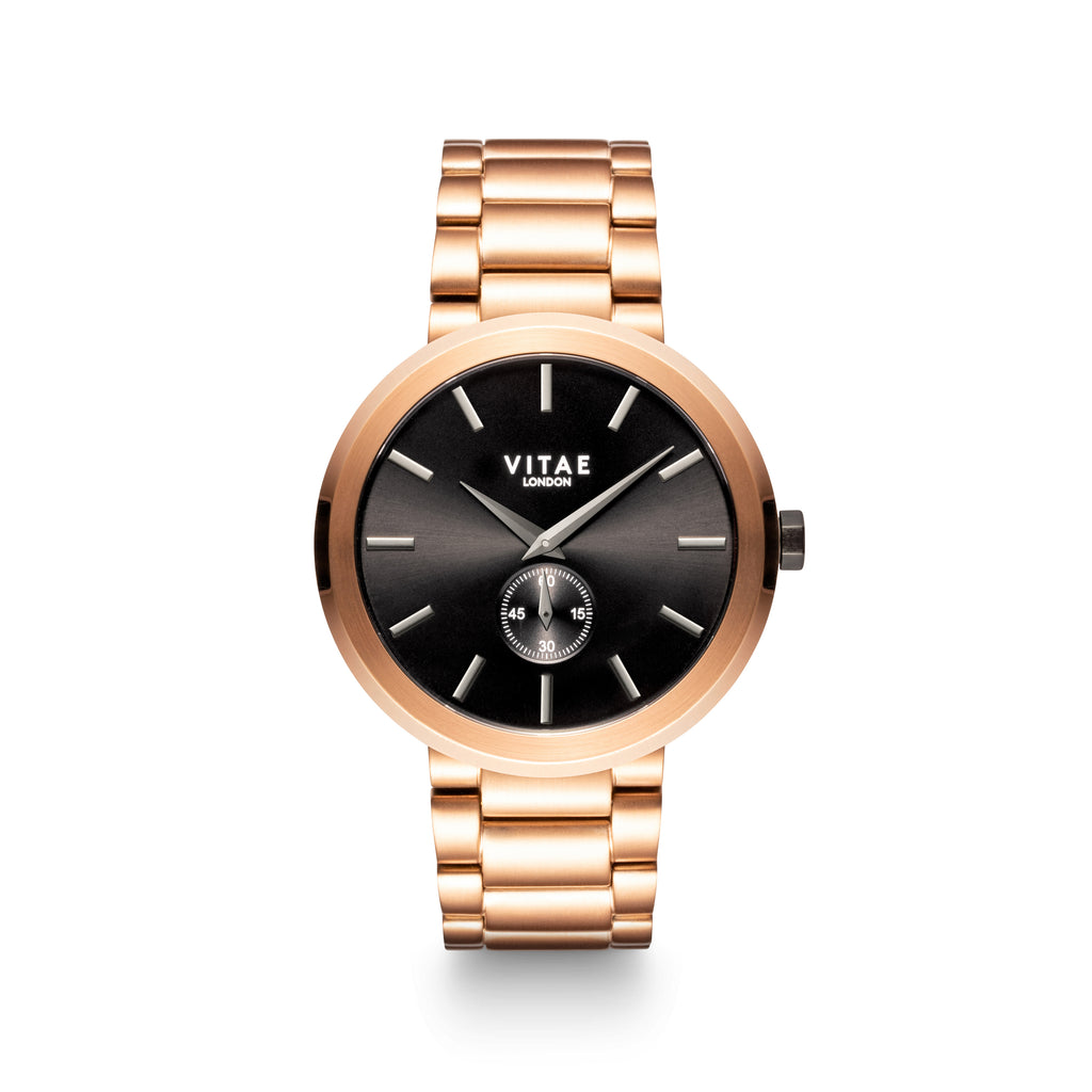 Elmington Midnight Watch x Black/Rose Gold - 44mm