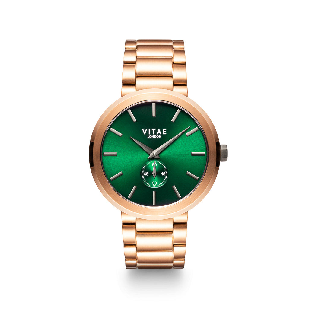 Elmington Emerald Green Watchx Rose Gold - 44mm