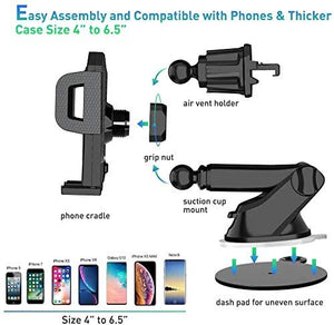 Cell phone holder car, 3 in 1 car cell phone holder, with suction cup ventilation cell phone holder, 360 ° rotatable car holder silicone protection for iPhone, Samsung, Huawei, Sony, One Plus, etc…