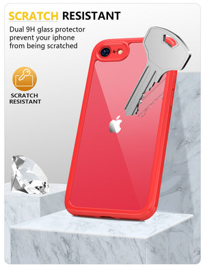 Miracase iPhone SE 2020 Case/iPhone 8 Full Body Protective Case with Built-in Glass Screen Protector, Transparent Protective Case, Red