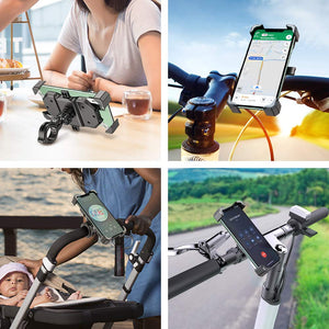VUP Bicycle Motorcycle Phone Holder, 360° Rotation Anti Shake Cradle Clamp Bike Accessories Fit for iPhone, Galaxy, Google Pixel