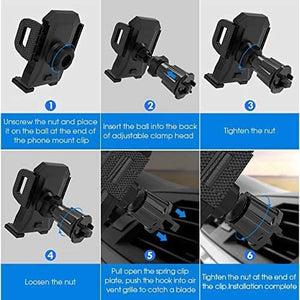 Car Phone Holder Mount,Phone Car Holder,Car Phone Mount,Power Auto Clamping Phone Holder for Car Dashboard/Windshield/Air Vent,Compatible for All Smartphone,iPhone 12/11【2020 Upgraded Version,Black】