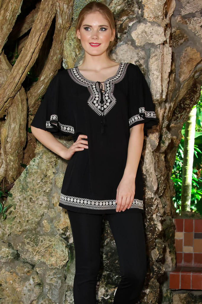 Embroidered Mini Tunic Cover Up for Beachwear