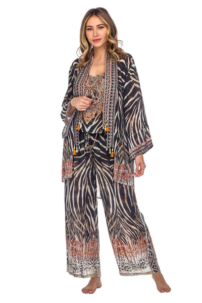Animal Print Beaded Cardigan Cape for Summer Wear
