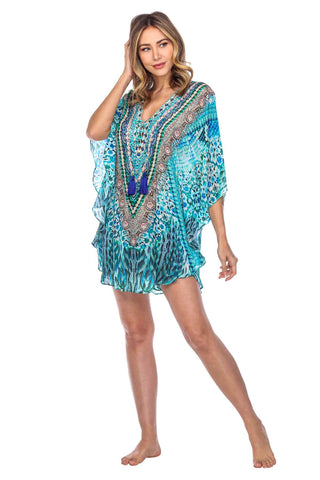 Animal Print Caftan Kaftan Dress Cover up in Silk