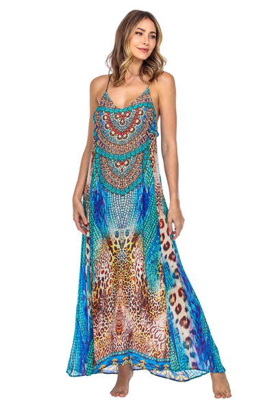 Animal Print Racerback Maxi dress with front pockets