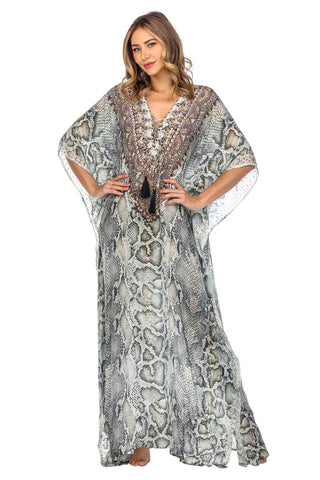 Animal Snake Print Long Caftan Dress - La Moda Clothings