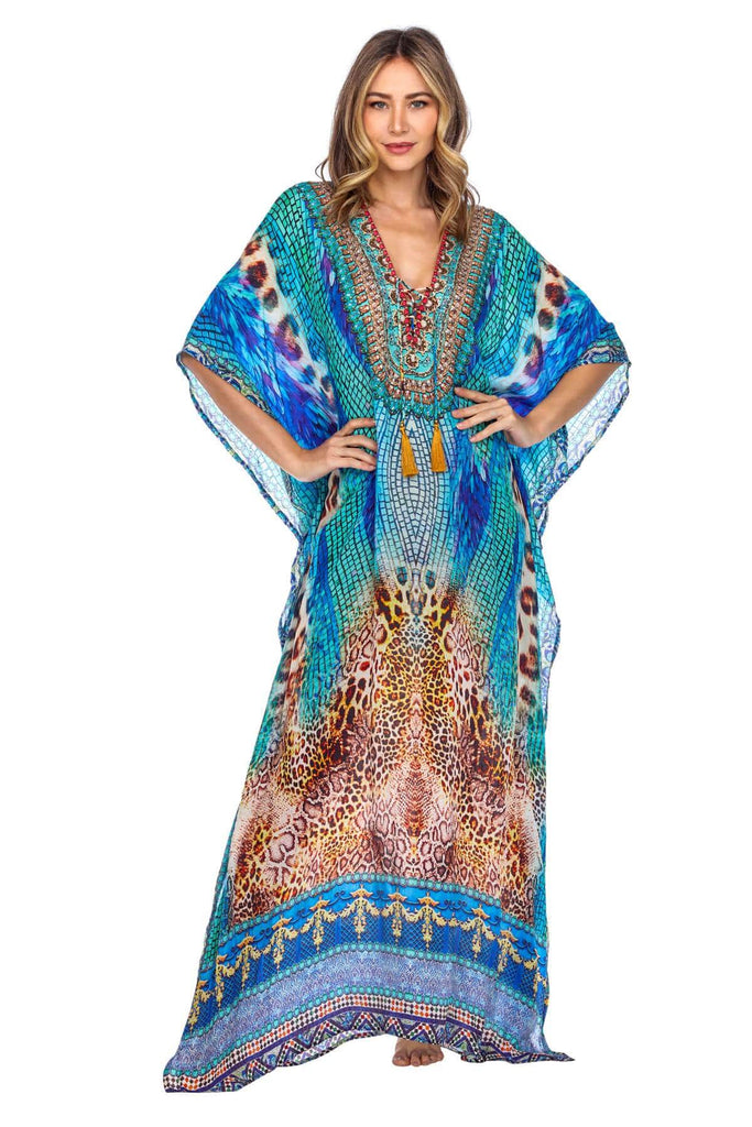 Flowy Design V Neck Maxi Long Caftan Dress/Cover Up with Rhinestone