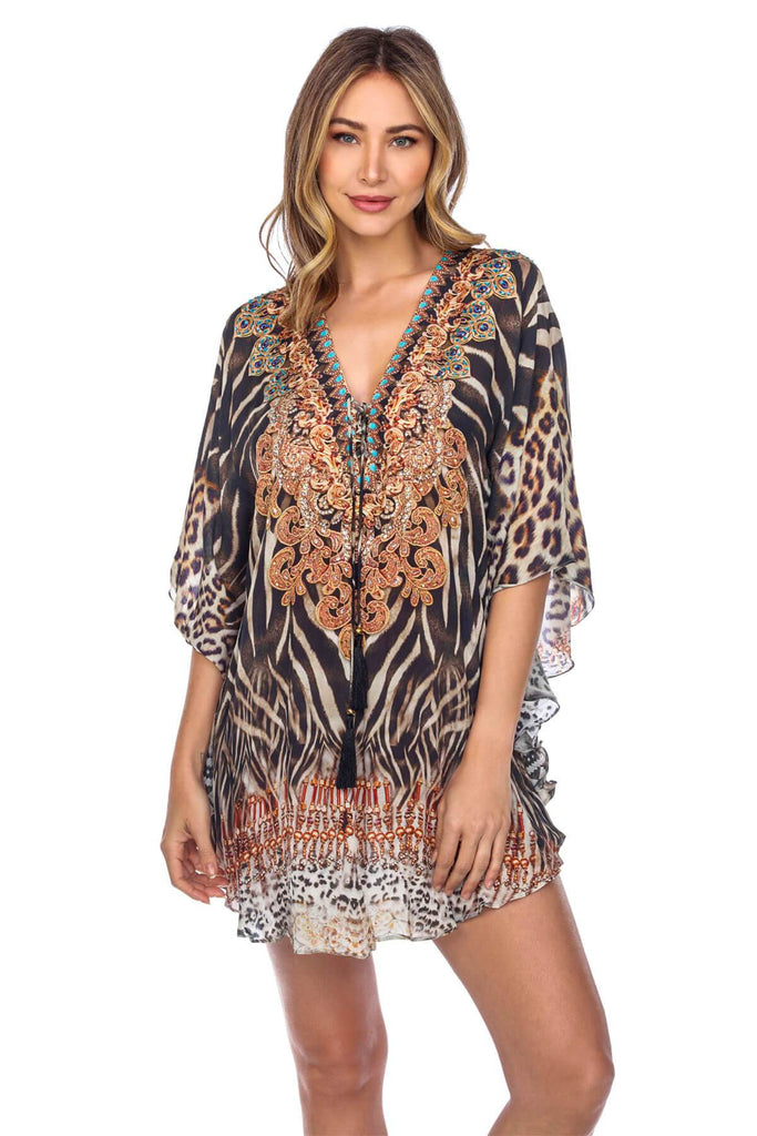 Lightweight Caftan Dress/Cover Up with V-Neck Jewels - La Moda Clothings
