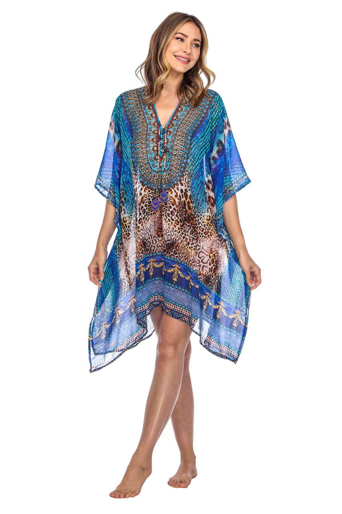 Luxury Silk Caftan Dress/Cover Up with V-Neck Jewels
