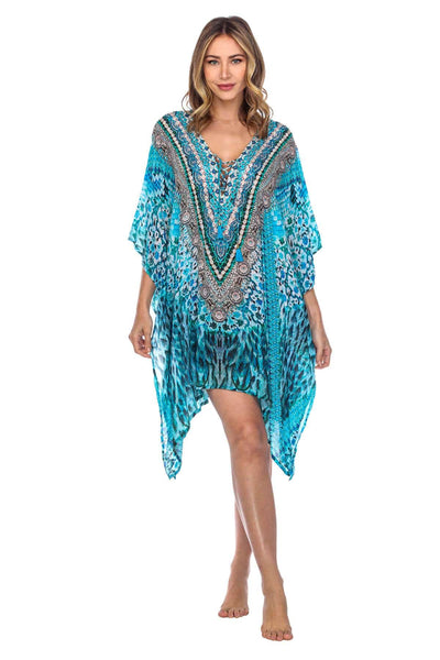V Neck Printed Short Caftan Dress/Cover Up in Silk