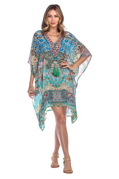 Women Casual Swimwear Swimsuit Cover Up Short Beach Dress Caftan