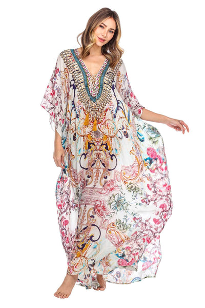 Women's Designer Maxi Caftan Pool Party Gown Dress