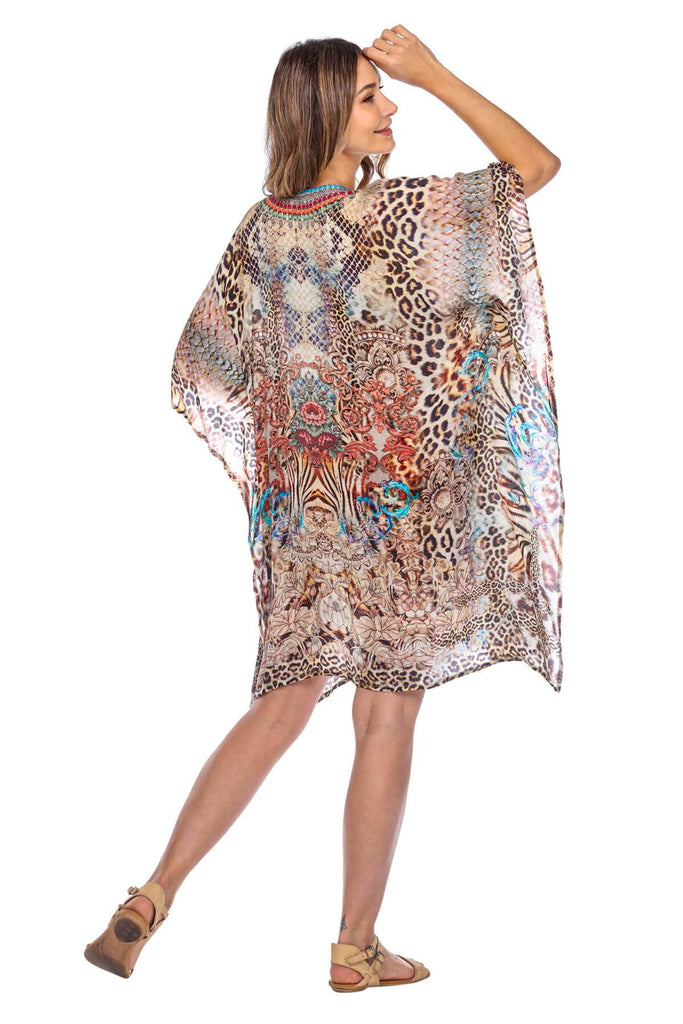 Women's Viscose Silk Caftan Poncho Cover up V Neck Top Lace up - La Moda Clothings