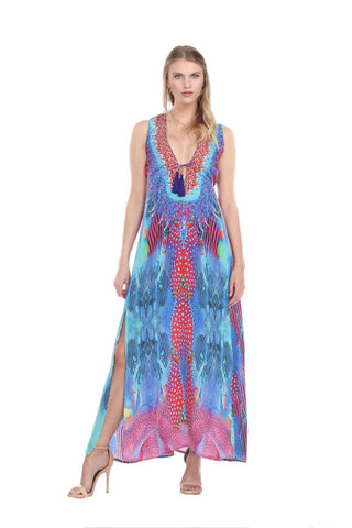 Multi-Color Front Slits Maxi Polyester Dress - La Moda Clothings