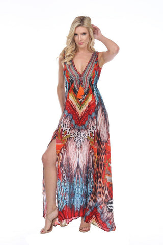 Women's Wholesale Resort Wear & Vacation Clothing Daytime Maxi Dresses In Multi-Color Made From Viscose Silk - La Moda Clothings