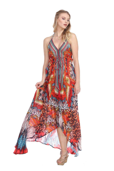 Luxury Halter Maxi Resort Dress With High-End Finishes - La Moda Clothings