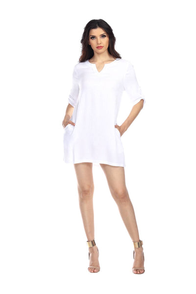 Chic White Tunic In Rayon For Swimwear Cover-Up - La Moda Clothings